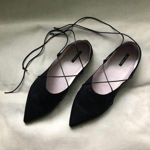 Zara black satin pointy flats, size 40, NWOT!